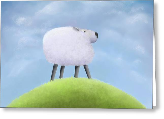 Isolated On Blue Background Greeting Cards - I can see your house from here - sheeps hill Greeting Card by Marlene Watson