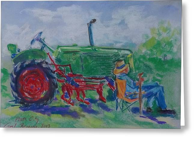 I Can Tell You Anything You Want To Know About This Tractor Greeting Card by Carol Berning