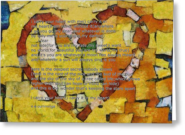 Romance Mixed Media Greeting Cards - I Carry your Heart Greeting Card by Poetry and Art