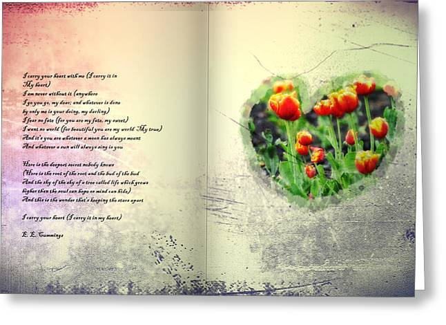 Heart Greeting Cards - I Carry Your Heart with Me  Greeting Card by Bill Cannon