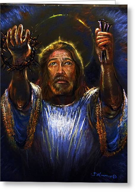 Jesus Pastels Greeting Cards - I come to do Your will Greeting Card by Tommy  Winn