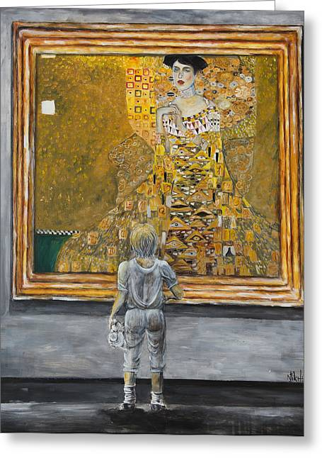 Child With Teddy Bear Greeting Cards - I Dream Of Klimt Greeting Card by Nik Helbig