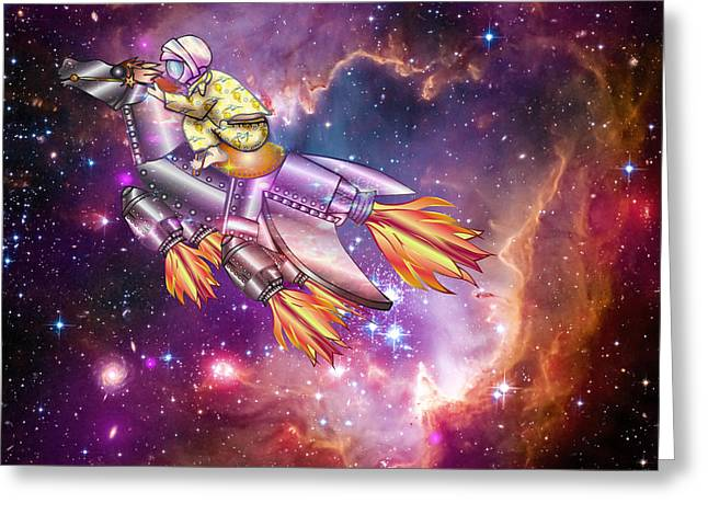 Outerspace Digital Greeting Cards - I Dream of Rockethorse Greeting Card by Laura Brightwood