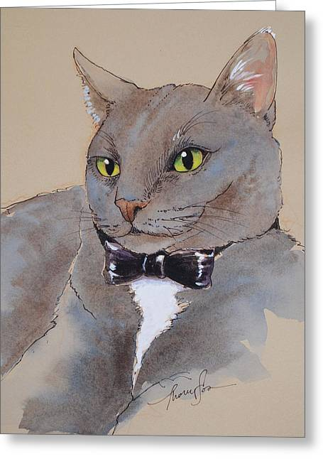 Cat Mixed Media Greeting Cards - I expect you to die Mister Bond Greeting Card by Tracie Thompson