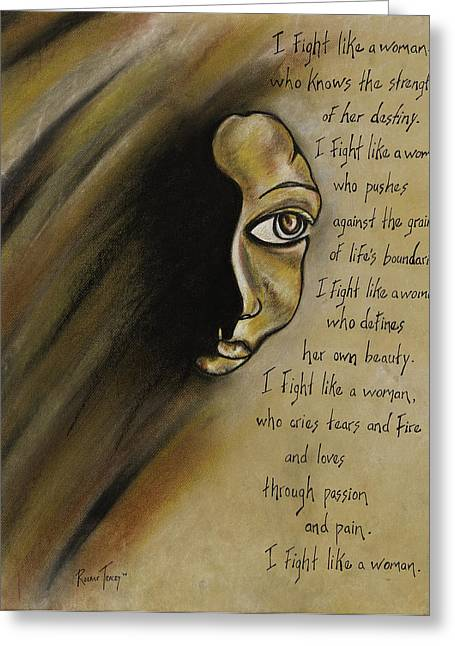 Afrocentric Art Greeting Cards - I Fight Like a Woman Greeting Card by Roxane Tracey
