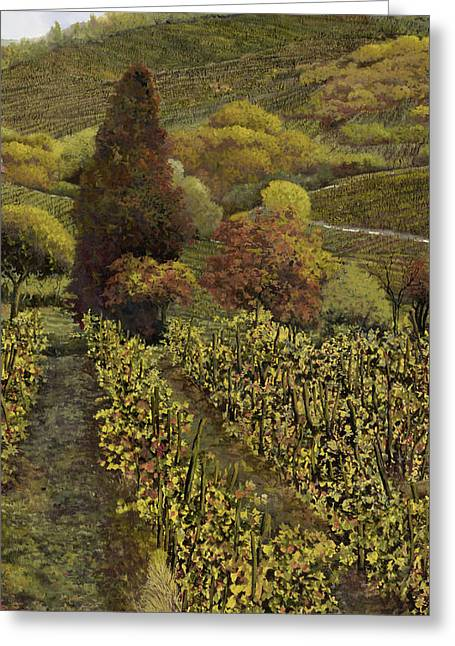 Vineyards Paintings Greeting Cards - I filari in autunno Greeting Card by Guido Borelli