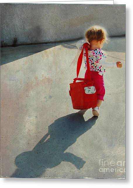 Red Bag Greeting Cards - I Go To Work Like Momma Greeting Card by Laura Sapko