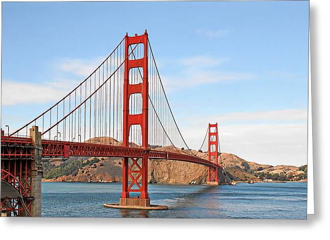 Engineering Greeting Cards - I guard the California shore - Golden Gate Bridge San Francisco CA Greeting Card by Christine Till