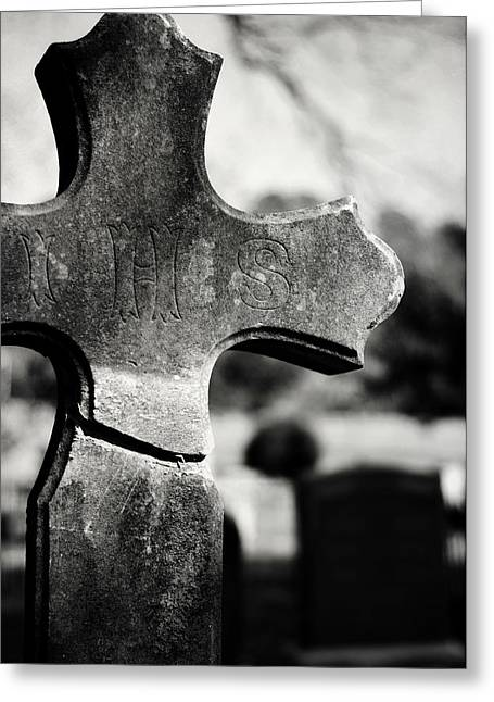 Headstones Greeting Cards - I H S Greeting Card by Rebecca Sherman