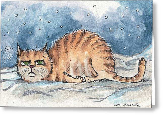Cat Drawings Greeting Cards - I hate winter Greeting Card by Angel  Tarantella