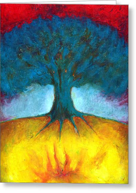 Vivid Colour Pastels Greeting Cards - I Have In Me Fire  Greeting Card by Wojtek Kowalski