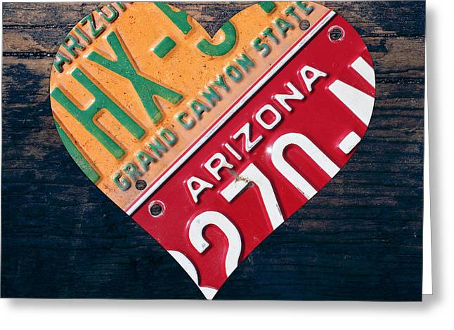 I Greeting Cards - I Heart Arizona State Love Recycled Vintage License Plate Art Greeting Card by Design Turnpike