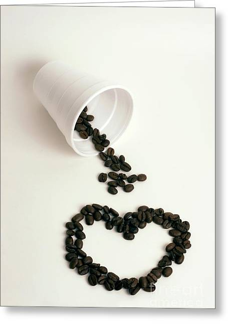I Heart Coffee To Go Greeting Card by Linda Matlow