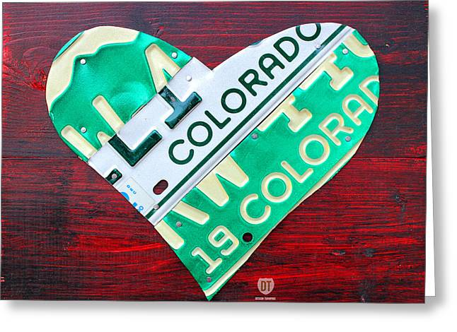 I Greeting Cards - I Heart Colorado License Plate Art Greeting Card by Design Turnpike