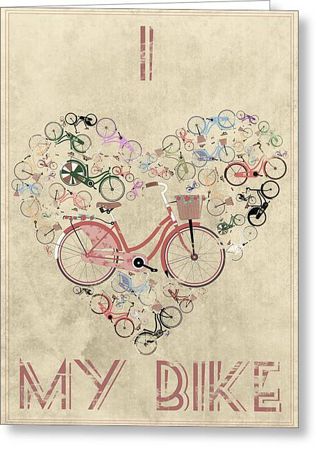 Bicycling Greeting Cards - I Heart My Bike Greeting Card by Andy Scullion