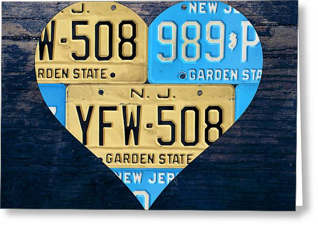 I Greeting Cards - I Heart New Jersey State Love Recycled Vintage License Plate Art Greeting Card by Design Turnpike