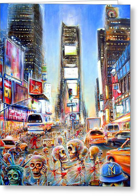 Times Square Paintings Greeting Cards - I Heart NY Greeting Card by Heather Calderon