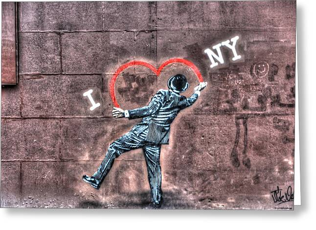 I Heart Ny Greeting Cards - I Heart NY Street Art Mural Greeting Card by Randy Aveille