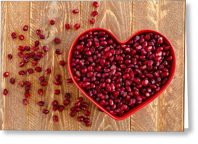 Locally Grown Greeting Cards - I Heart Pomegranates Greeting Card by Teri Virbickis