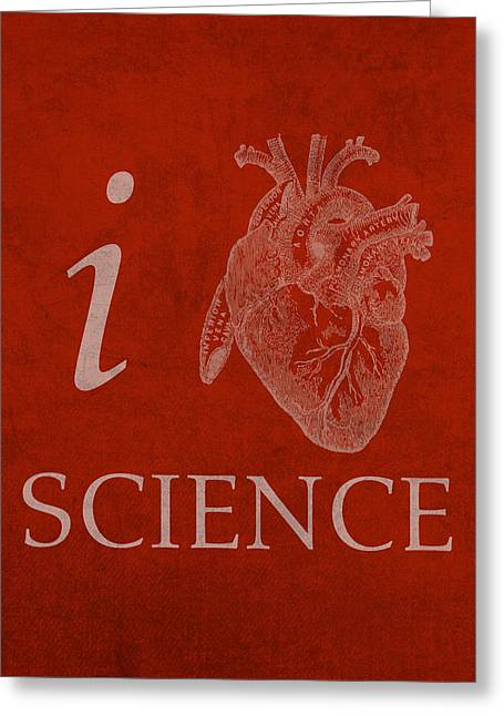 I Greeting Cards - I Heart Science Humor Poster Greeting Card by Design Turnpike
