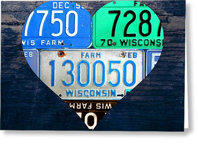 I Greeting Cards - I Heart Wisconsin State Love Recycled Vintage License Plate Art Greeting Card by Design Turnpike