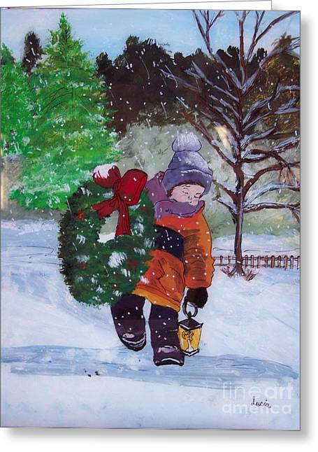 Children Glass Greeting Cards - I Hope Mom Likes This one Greeting Card by Lucia Grilletto