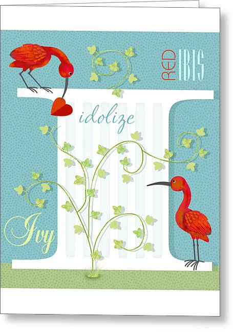 Storybook Mixed Media Greeting Cards - I is for Ibis and Ivy Greeting Card by Valerie   Drake Lesiak