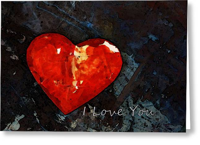I Just Love You - Red Heart Romantic Art Greeting Card by Sharon Cummings