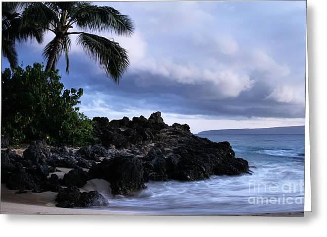 Hawaii Beach Art Greeting Cards - I ke kai Hawanawana Eia kuu lei Aloha - Paako Beach Maui Hawaii Greeting Card by Sharon Mau