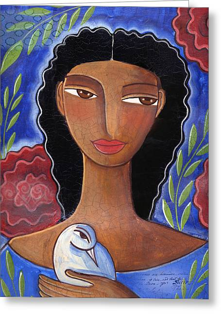 Women With Roses Greeting Cards - I Know I Can Love Greeting Card by Elaine Jackson