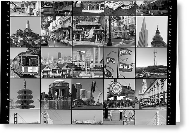 Alcatraz Greeting Cards - I Left My Heart In San Francisco 20150103 bw with text Greeting Card by Wingsdomain Art and Photography