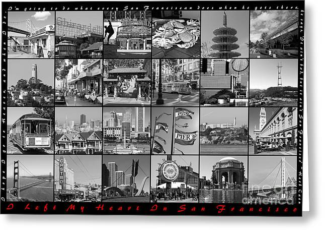 Union Square Photographs Greeting Cards - I Left My Heart In San Francisco 20150103 horizontal with text bw Greeting Card by Wingsdomain Art and Photography