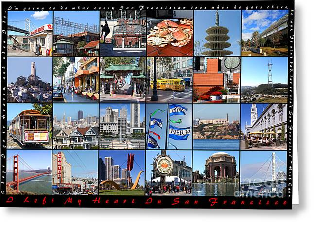 Union Square Photographs Greeting Cards - I Left My Heart In San Francisco 20150103 horizontal with text Greeting Card by Wingsdomain Art and Photography