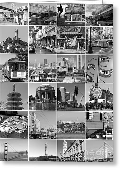 Union Square Photographs Greeting Cards - I Left My Heart In San Francisco 20150103 vertical bw Greeting Card by Wingsdomain Art and Photography
