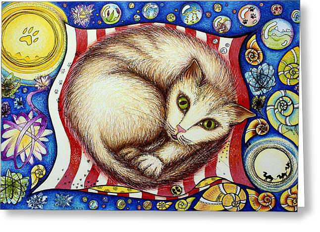 Helix Drawings Greeting Cards - I like cats Greeting Card by Ida  Novotna