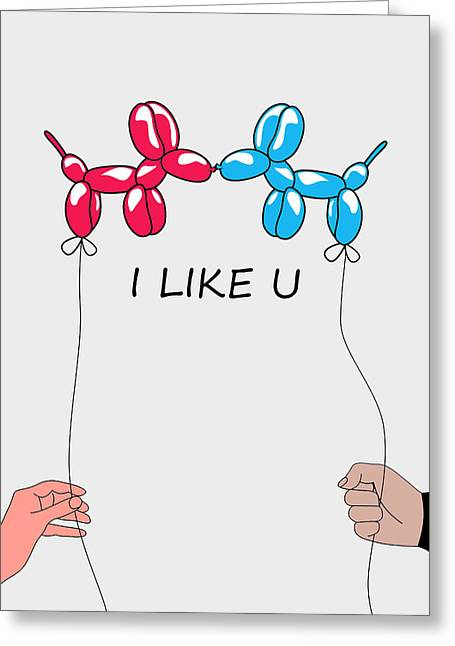 Jeff Greeting Card featuring the digital art I Like You 2 by Mark Ashkenazi