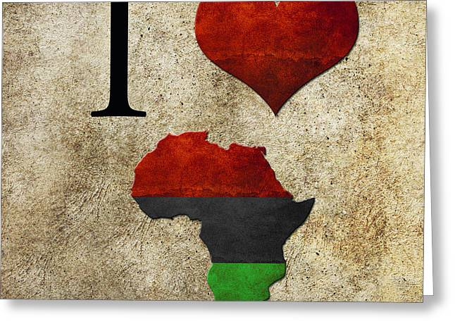Love Greeting Cards - I love Africa Greeting Card by Gina Dsgn