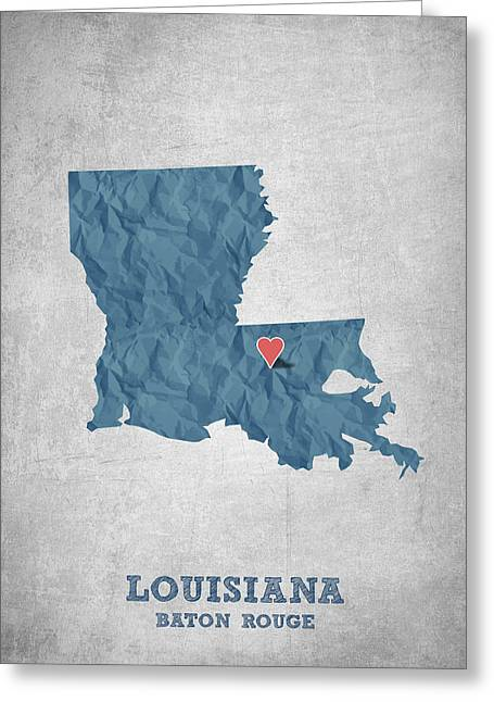 Baton Rouge Greeting Cards - I love Baton Rouge Louisiana - Blue Greeting Card by Aged Pixel