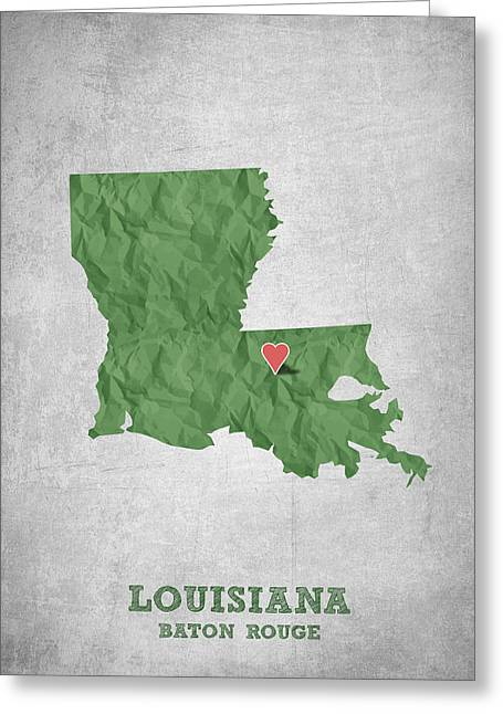 I Love Baton Rouge Louisiana - Green Greeting Card by Aged Pixel