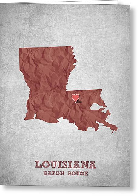 I Love Baton Rouge Louisiana - Red Greeting Card by Aged Pixel