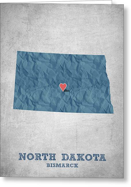 Queen Greeting Cards - I love Bismarck North Dakota - Blue Greeting Card by Aged Pixel