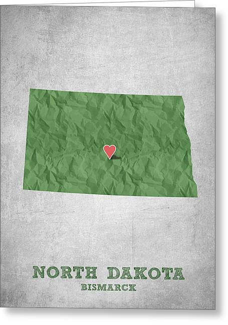 Queen Greeting Cards - I love Bismarck North Dakota - Green Greeting Card by Aged Pixel