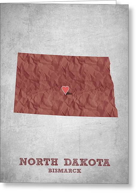 Queen Greeting Cards - I love Bismarck North Dakota - Red Greeting Card by Aged Pixel