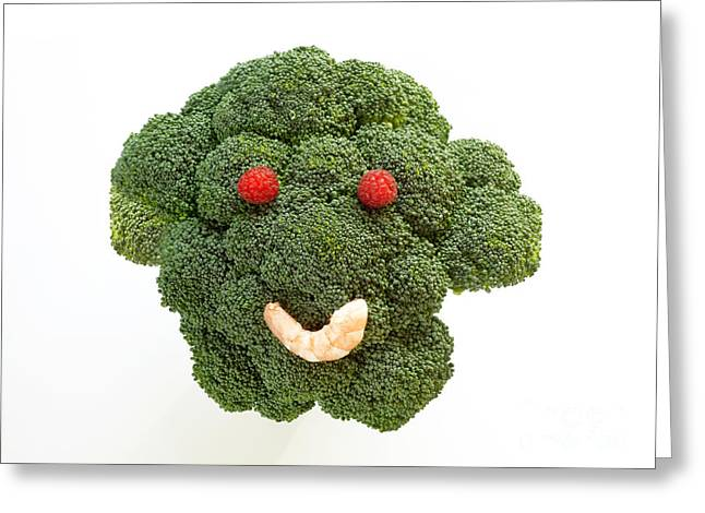 Broccoli Greeting Cards - I love broccoli face Greeting Card by Rosemary Calvert