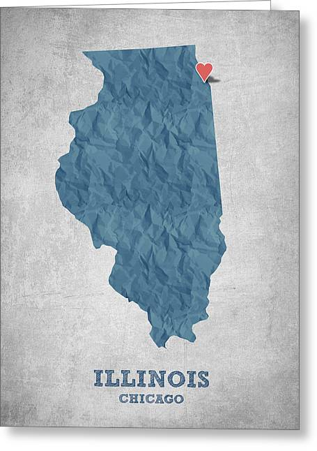 Geography Greeting Cards - I love Chicago Illinois - Blue Greeting Card by Aged Pixel