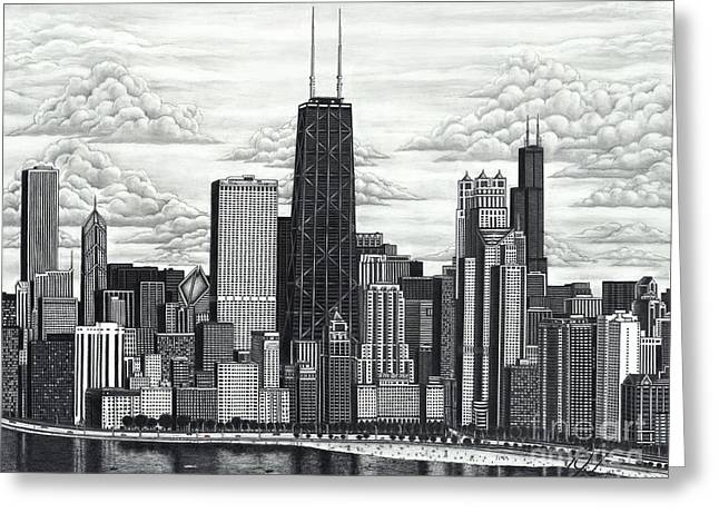 Prospects Drawings Greeting Cards - I Love Chicago Greeting Card by Omoro Rahim