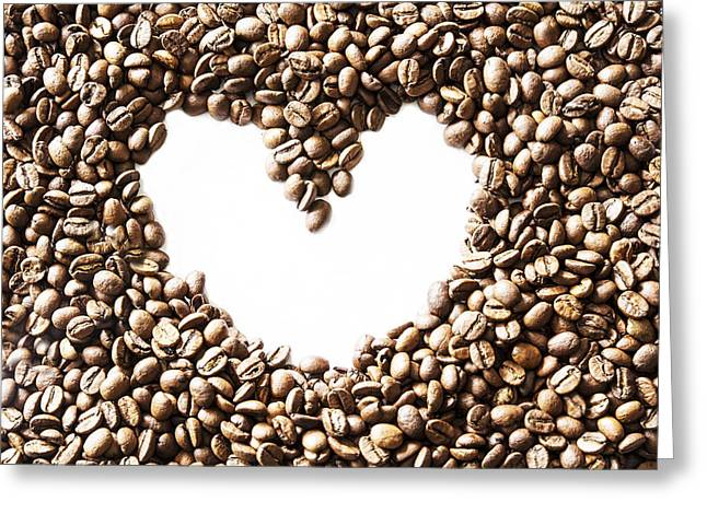 I Love America Greeting Cards - I Love Coffee Beans Greeting Card by Nomad Art And  Design