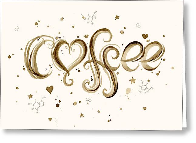 Olechkadesign Greeting Cards - I Love Coffee Greeting Card by Olga Shvartsur