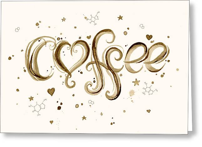 Molecules Greeting Cards - I Love Coffee Greeting Card by Olga Shvartsur