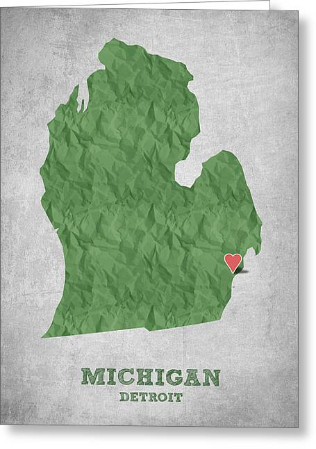 Geography Greeting Cards - I love Detroit Michigan - Green Greeting Card by Aged Pixel